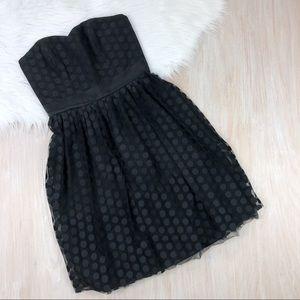 WHBM Strapless Sweetheart Polka Dot Tulle Dress